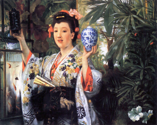 James Tissot A young woman holds Japanese goods
