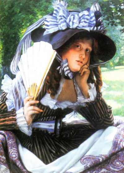 James Tissot A young woman with a fan