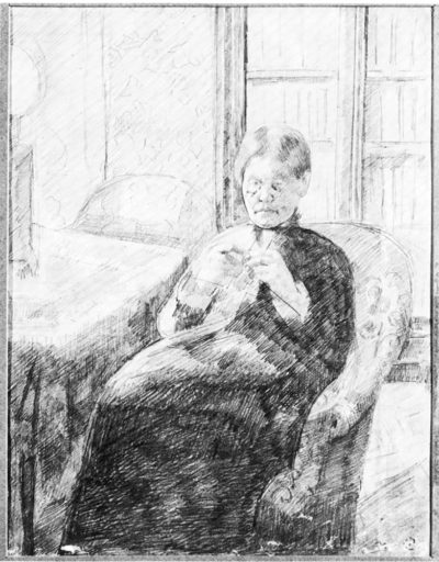 Mary Cassatt An old woman knitting