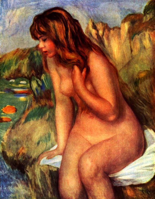 Pierre-Auguste Renoir Bathing sitting on a rock
