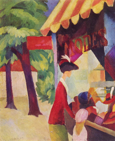 August Macke Before Hutladen (woman with a red jacket and child)