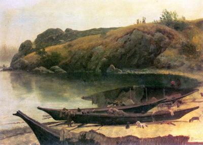 Albert Bierstadt Canoes