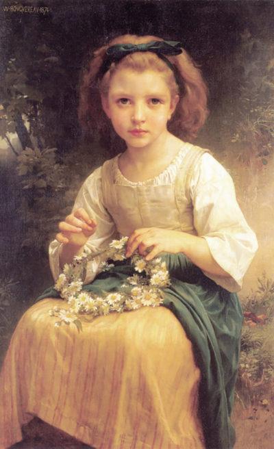William-Adolphe Bouguereau Child Braiding A Crown