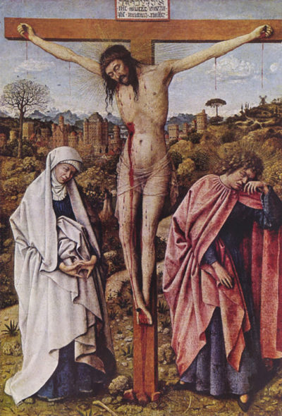 Jan van Eyck Christ on the cross between Mary and John