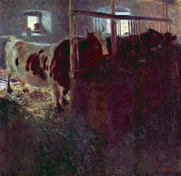 Gustav Klimt Cows in Stall