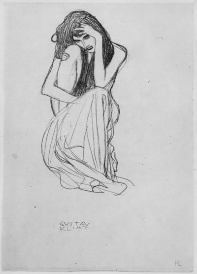 Gustav Klimt Crouching from the front