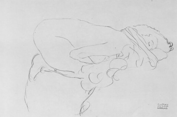 Gustav Klimt Crouching to right