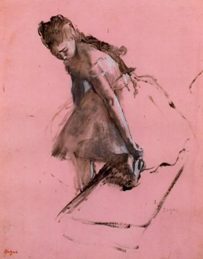 Edgar Degas Dancer slipping on her shoe