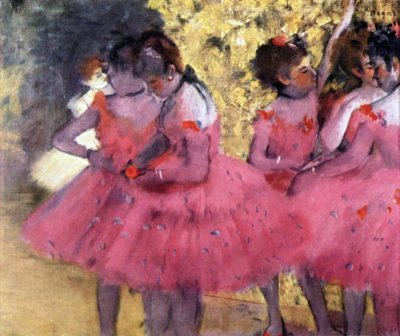 Edgar Degas Dancers in pink between the scenes