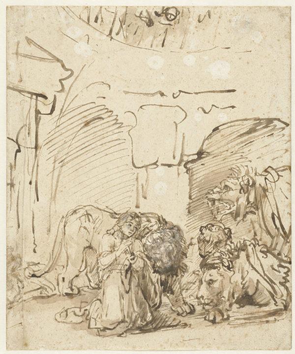 Rembrandt Harmensz. van Rijn Daniël in the lion's den