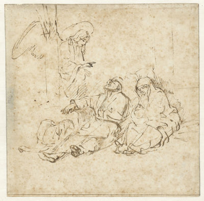 Rembrandt Harmensz. van Rijn The angel appears to Jozef in his dream