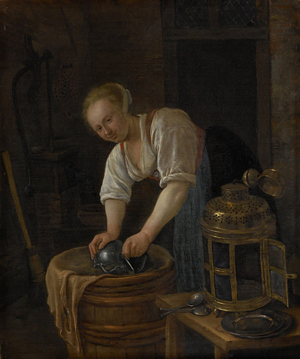 Jan Havicksz. Steen Woman scouring metalware