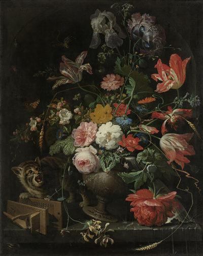 Abraham Mignon The overturned Bouquet