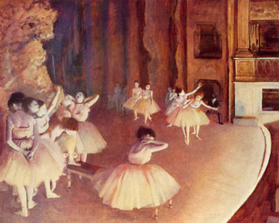 Edgar Degas Dress rehearsal of the ballet on the stage