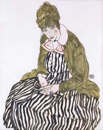 Egon Schiele Edith with Striped Dress