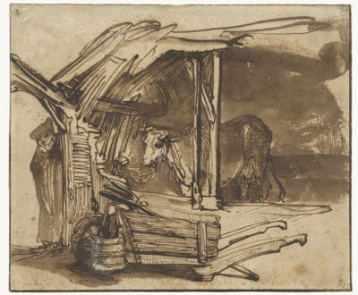 Rembrandt Harmensz. van Rijn A cow in the barn