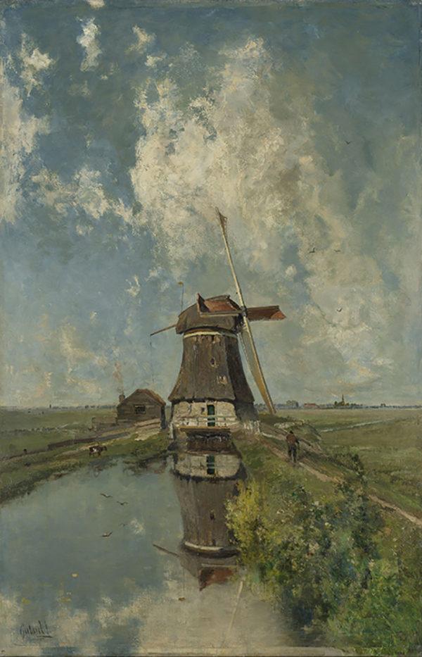 Paul Joseph Constantin Gabriël A Windmill on a Polder Waterway