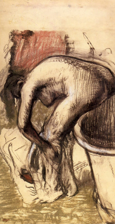 Edgar Degas Female on the tub edge