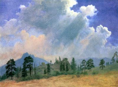Albert Bierstadt Fir trees and storm clouds