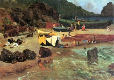 Albert Bierstadt Fishing Boats on Capri
