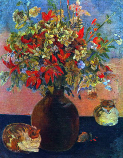 Paul Gauguin Flowers and Cats