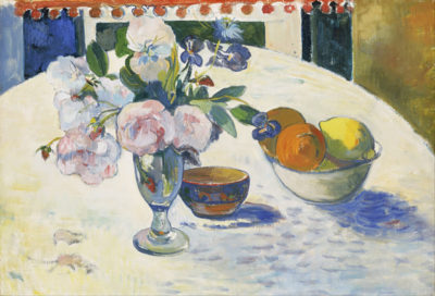 Paul Gauguin Flowers and a Bowl of Fruit on a Table