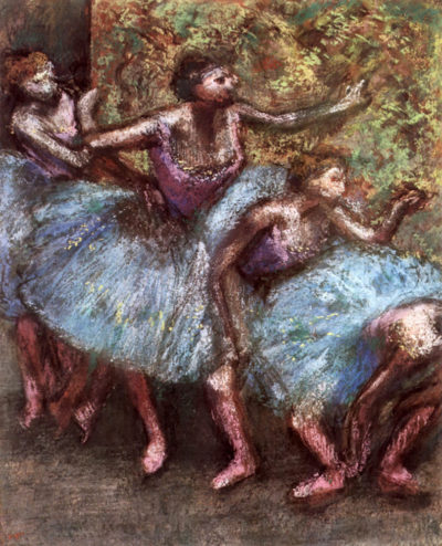 Edgar Degas Four dancers behind the scenes