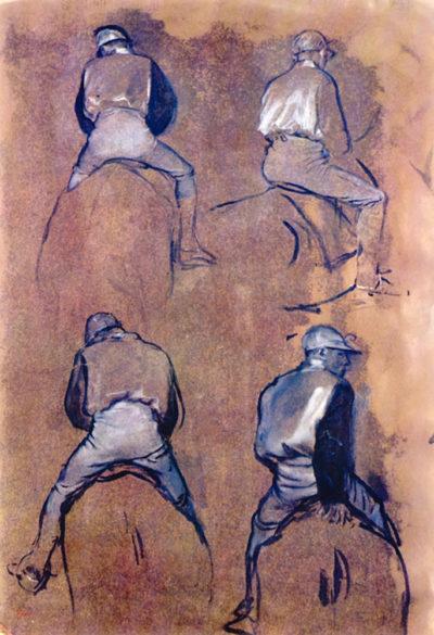 Edgar Degas Four studies of Jockeys