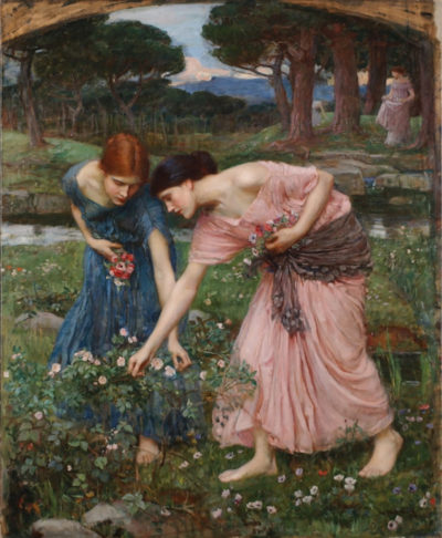 John William Waterhouse Gathering Rosebuds