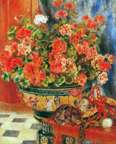 Pierre-Auguste Renoir Geraniums and cats