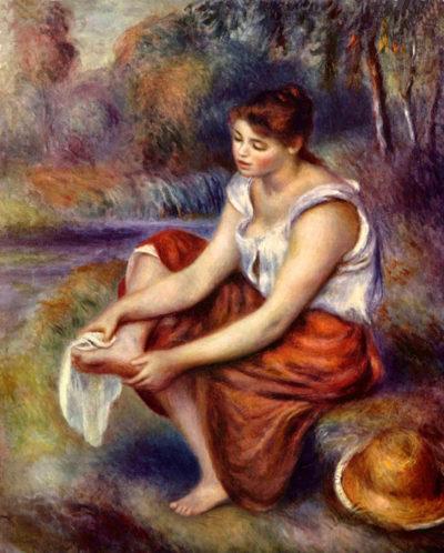 Pierre-Auguste Renoir Girl dryes her feet