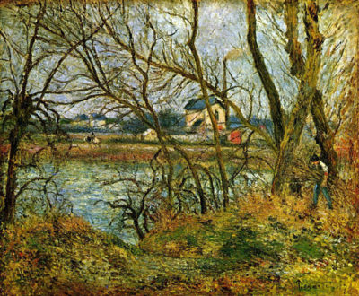 Camille Pissarro Grey day on the banks of the Oise at Pontoise