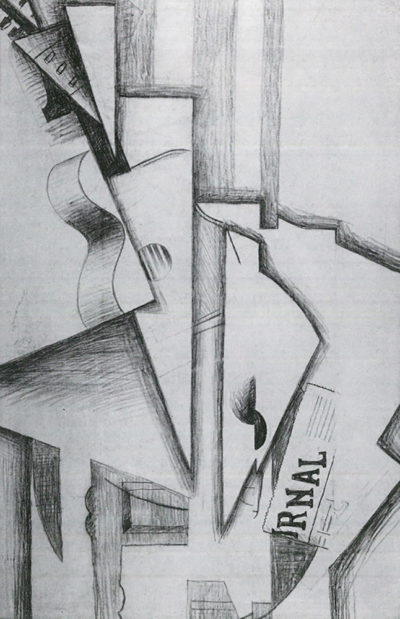 Juan Gris Guitar and Newspaper on a Table