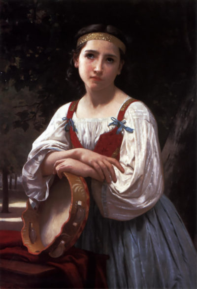 William-Adolphe Bouguereau Gypsy Girl with a Basque Drum