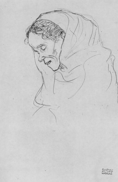 Gustav Klimt Head of an old woman in profile