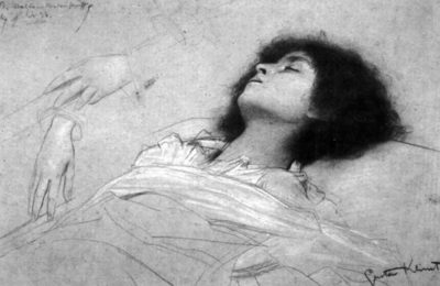 Gustav Klimt Head study of a reclining girl