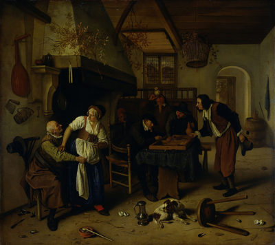 Jan Havicksz. Steen Interior of an inn with an old man amusing himself with the landlady and two men playing backgammon