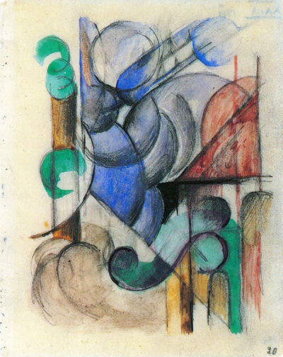 Franz Marc House in abstract landscape