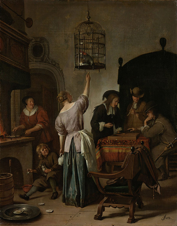 Jan Havicksz. Steen Interior with a Woman Feeding a Parrot