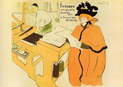 Henri de Toulouse-Lautrec Jane Avril checking a print sample