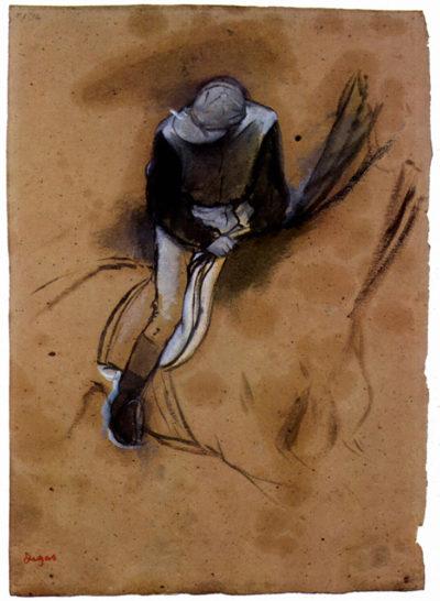 Edgar Degas Jockey forward flexed standing in the saddle