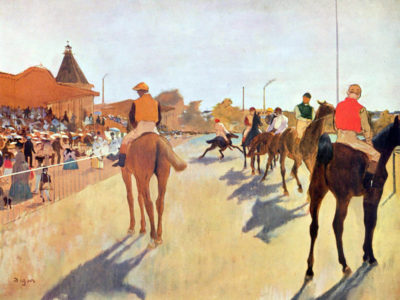 Edgar Degas Jockeys in front of the grandstand