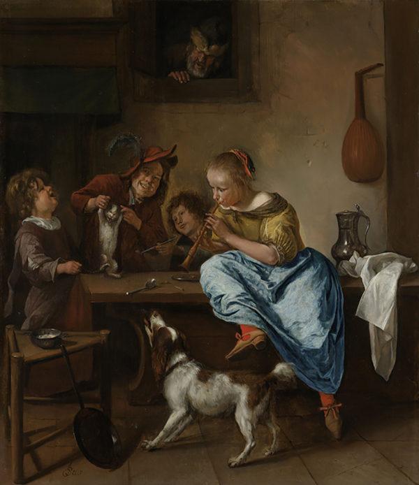 Jan Havicksz. Steen Children Teaching a Cat to Dance