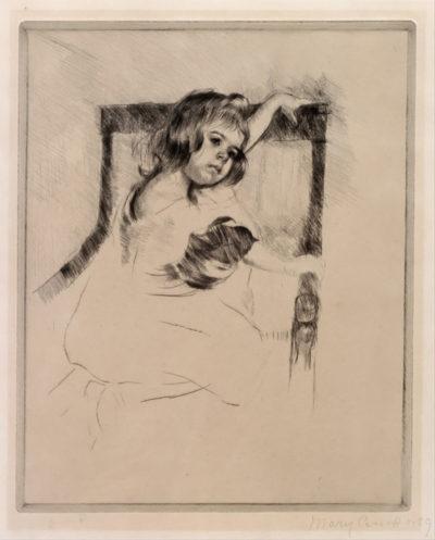 Mary Cassatt Kneeling in an Armchair