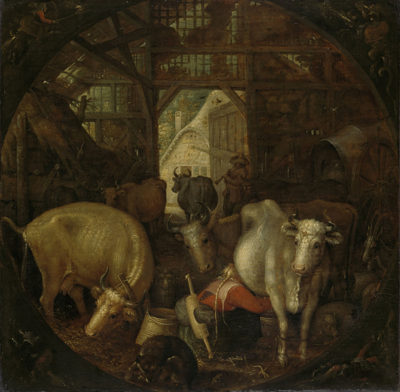 Roelant Savery Cows in a stable; witches in the four corners