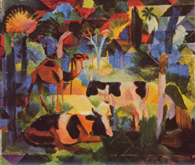 August Macke Landscape with cows and camels