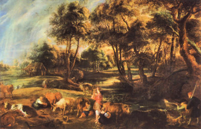 Peter Paul Rubens Landscape with cows and duck hunters