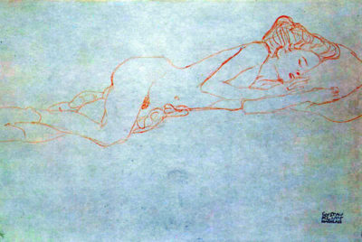 Gustav Klimt Lying female nude