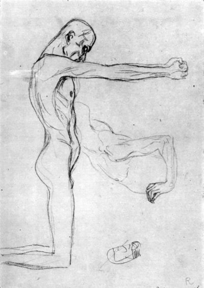 Gustav Klimt Man with outstretched arms