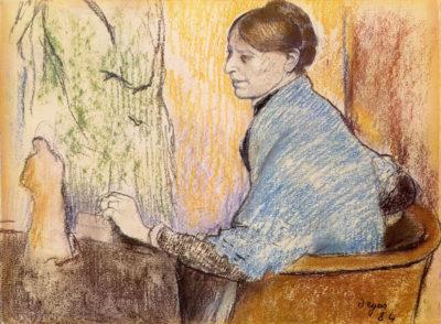 Edgar Degas Mme Henri Rouart before a statue